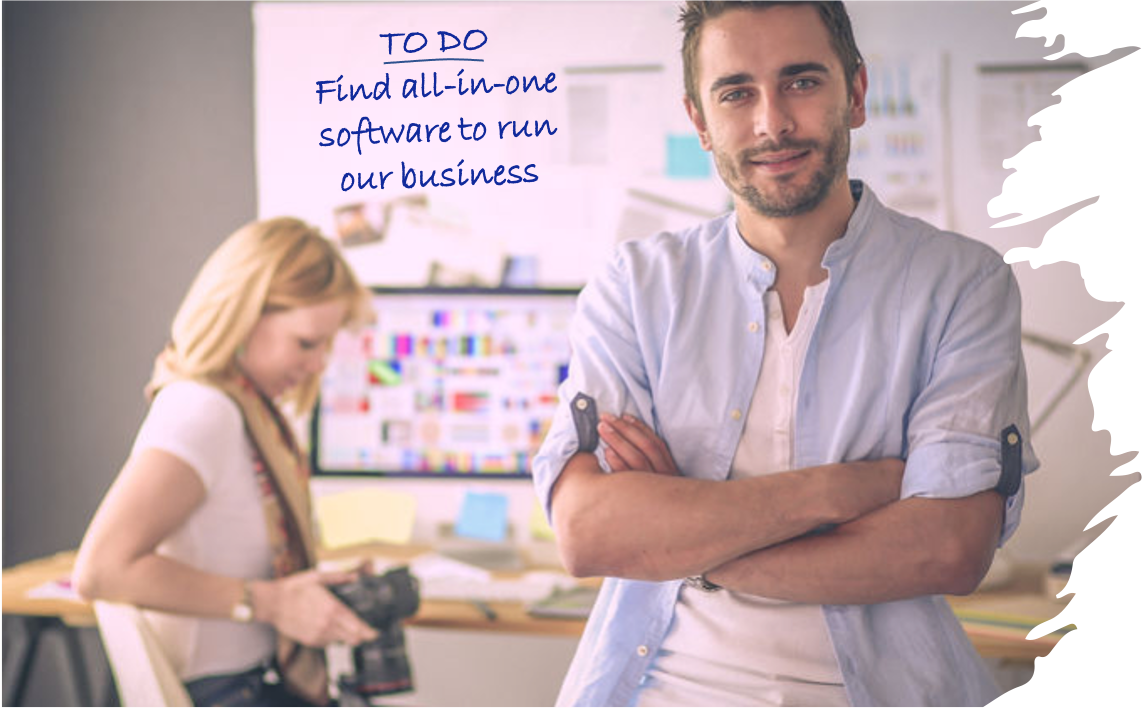 Business couple wanting all-in-one software to run their business.